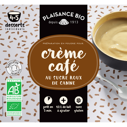 Crème café au sucre roux de canne PLAISANCE BIO, paquet de 45g