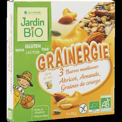 Barres abricots amandes graines de courge sans gluten JARDIN BIO, étui de 75g