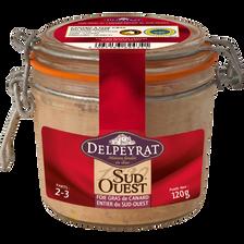 Foie gras de canard entier 100% Sud Ouest DELPEYRAT, bocal de 120g