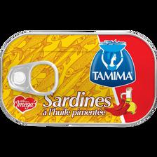 Sardines en conserve à l'huile végétale pimentée TAMIMA, 125g