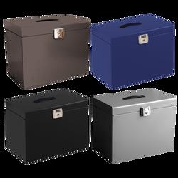 Classeur ménager en métal laqué, 36,8x22x28,7x22cm, avec 5 dossiers suspendus 21x29,7cm à index, serrure à clé, poignée intégrée, acier recyclable, coloris assortis