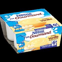 P'tit gourmand crème dessert à la vanille NESTLÉ, dès 6 mois, 4x100g