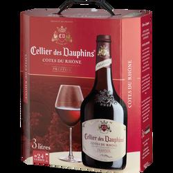 Vin rouge AOC Côtes du Rhône CELLIER DES DAUPHINS, fontaine à vin de 3l