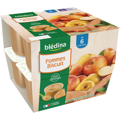 Coupelle 100% fruits biscuit BLEDINA, de 6 à 36 mois, 8x100g