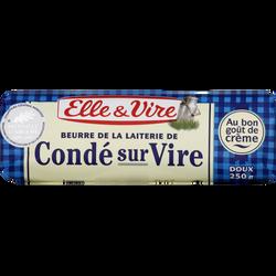 Beurre doux de laiterie de Condé sur Vire ELLE & VIRE, 82%mg, 250g