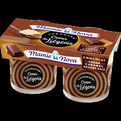 Liégeois gourmand au chocolat coeur caramel MAMIE NOVA, 2x120g
