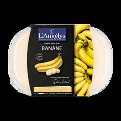Sorbet plein fruit à la banane L'ANGELYS, pot de 500g