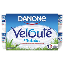 Yaourt brassé nature VELOUTE DE DANONE,  16x125g