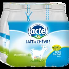 Lait de chèvre demi-écrémé UHT LACTEL, 6 bouteilles de 1 litre