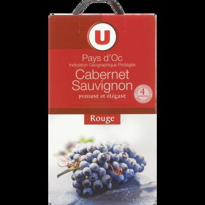 Vin rouge IGP Pays d'Oc Cabernet Sauvignon U, fontaine à vin de 5 litres