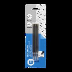 Recharge pour stylo bille gel effaçable U, noire, pack de 3