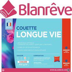 """COUETTE 260X240CM """"LONGUE VIE"""", CHAUDE 400G/M2 BLANREVE"""
