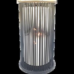 Photophore en métal époxy et pot en verre 12x12cm