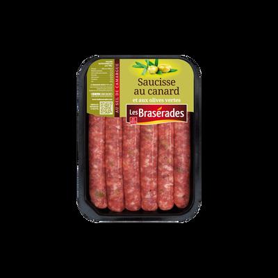Saucisse canard et olives, LES BRASERADES, barquette, 300g