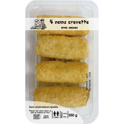 4 Nems aux crevettes + sauces DELICES D'ORIENT, 350g