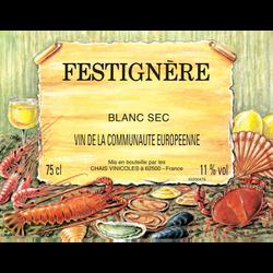 Vin blanc sec de table FESTIGNIERE, 11°, bouteille de 75cl