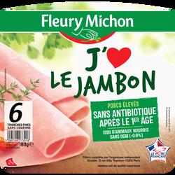 """Jambon supérieur sans couenne """"j'aime"""" FLEURY MICHON 6 tranches fines180g"""