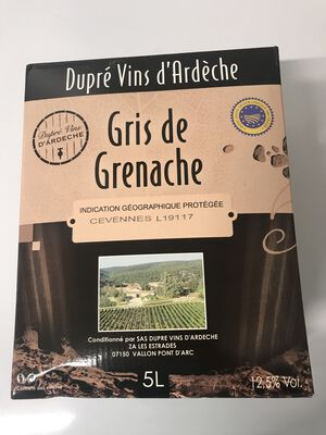 Gris de grenache bib 5L, dupré vins d'Ardèche