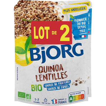 Bjorg Quinoa Lentilles Bio Bjorg Doy Pack 2x250g Soit 500g