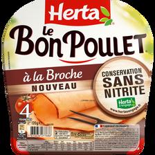 Le bon poulet à la broche sans nitrites HERTA, 4 unités, 120g