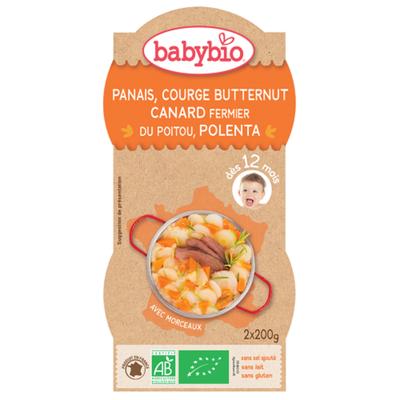 Bol Panais Courge Butternet Canard Polenta BABYBIO dès 12mois 2x200g