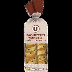 Baguettes viennoises aux pépites de chocolat U, x4 soit 400g