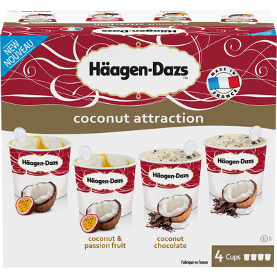 Minicups coconut attraction HÄAGEN DAZS, x4, soit 348g