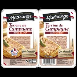 Terrine de campagne dorée au four Que l'Essentiel Viande de Porc Française MADRANGE, 2x50g
