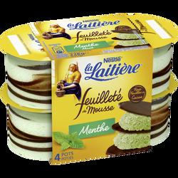 Mousse lactée menthe et chocolat feuilleté LA LAITIERE, 4X57g