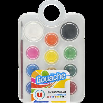 Pastilles de gouache U avec pinceau n°8, coloris assortis, pack de 12