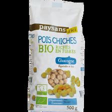 Pois chiches riches en fibre de Gascogne bio PAYSANS D'ICI, boîte de 500g