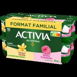 Lait fermenté sucré au bifidus saveur vanille frambose ACTIVIA 16x125g