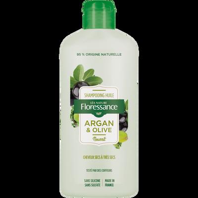 Shampooing pour cheveux secs à très secs à l'huile d'argan & olive FLORESSANCE, flacon de 250ml