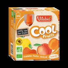 Cool fruits pomme pêche abricot VITABIO, 4 gourdes de 90g