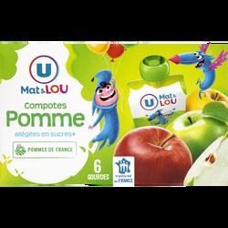 Gourdes compote allégée en sucres pomme U MAT&LOU, 6 unités, 90g
