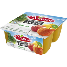 Dessert de fruits sans sucre ajouté pomme nature MATERNE, 4x100g