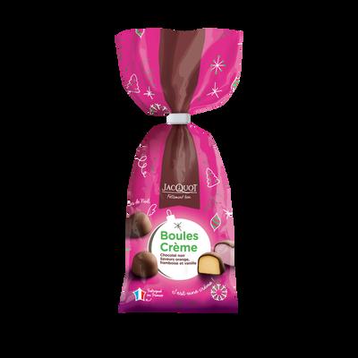 Boules de chocolat noir fourrées crème JACQUOT, sachet de 250g
