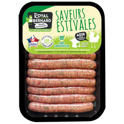 Saucisse de dinde nature, ROYAL, France, 12 pièces, barquette 600g
