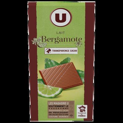 Chocolat au lait bergamote U, tablette de 100g