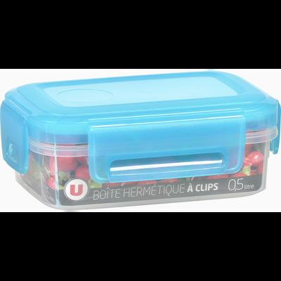 Boîte hermétique U MAISON, rectangulaire, à clips, 0,5 litres,couvercle bleu