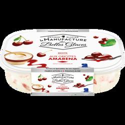 Crème glacée aux griottes Amarena MANUFACTURE DES BELLES GLACES, bac de 488g