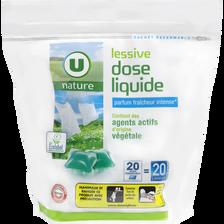 Lessive dose liquide fraîcheur intense U NATURE, 20 lavages