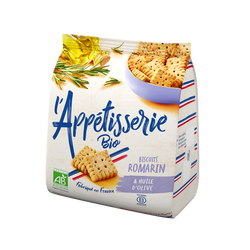 Biscuits salés bio à l'huile d'olie vierge extra 5% et au romarin BJORG, sachet de 100g