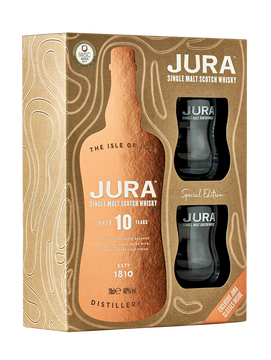 Scotch Coffert Whisky S.malt The Isle Of Jura 10a 40° 70cl+2verres