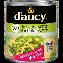 Duo de haricots verts et beurre coupés sous vide D'AUCY, boîte 1/2, 225g