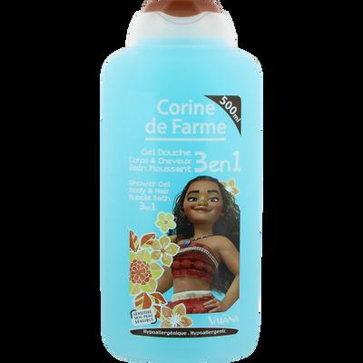 Gel douche bain moussant corps et cheveux 3 en 1 Vaiana CORINE DE FARME, flacon 500ml