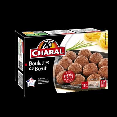 Boulettes de boeuf CHARAL, 12 unités, 360g. Origine de la viande :France