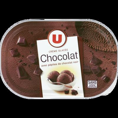 Glace au chocolat avec pépites de chocolat U, pot de 500g