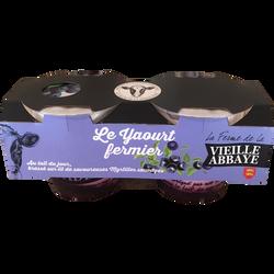 Yaourt fermier brassé sur lit de myrtille FERME DE LA VIEILLE ABBAYE,2x125g