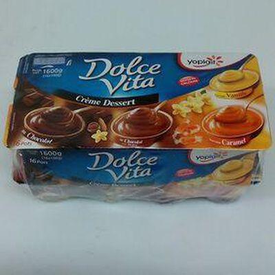 CREME DESSERT CHOCOLAT, PRALINE, VANILLE, CARAMEL  16X100G